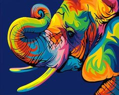 Buy Abstract Elephant - Animals Paint By Number kit or check our new modern collections for adults paint by numbers. Relax and enjoy your canvas painting Colorful Elephant, Colorful Animals, Arte Pop, Pop Art, Fantasy Boy, Pattern Wall, Pattern Design, Wallpaper Flower, Inspiration Drawing
