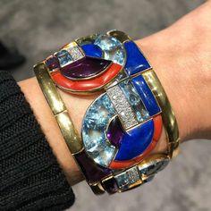 Incredible Art Deco bangle by Georges Fouquet, designed by AM Cassandre. It is an absolute work of art! Estimate is $400,000-600,000. #bracelets #diamond #diamonds #christies #christiesjewels #georgesfouquet #aquamarine #lapislazuli #artdeco #bangles