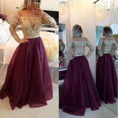 RightBrides 44844 | Burgundy Prom Dresses 2017, 2017 Long Prom Dress, Long Sleeve Prom Dress, Red Prom Dress, Prom Dress 2017, A Line Prom Dress
