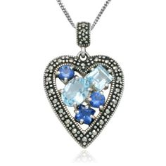 "Sterling Silver Marcasite and Blue Glass Heart Pendant Necklace , 18"" Amazon Curated Collection. $89.00. Made in Thailand. Marcasite can appear iridescent in the light.. The natural properties and composition of mined gemstones define the unique beauty of each piece. The image may show slight differences to the actual stone in color and texture.. Save 75%!"