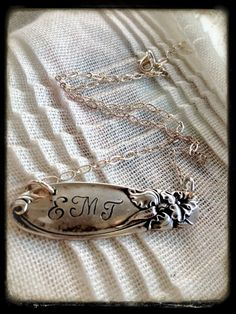 Stamped Monogram Silver Spoon Handle Pendant in by erinschock, $36.00