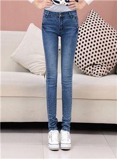 Sexy Charming Slim Pure Denim Blue Skinny Jeans: tidestore.com