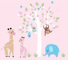 Baby Room Wall Decor Nursery Jungle Wall Decal- Tree,Monkey ...