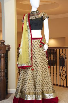 Beige Gold Banarsi Lehenga 2013 idea for bridesmaids, sister of the bride, or maid of honor