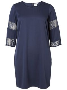 Beautiful dress with lace details on the sleeves from JUNAROSE plus size.