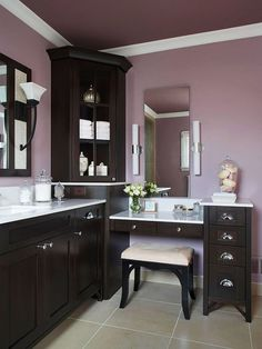 "The era of the bright-white ceiling is over,"" says Elaine Griffin, an interior designer in New York City. Paint the ceiling a shade lighter than the walls to visually raise it and avoid a jarring stop-start effect. Bathroom With Makeup Vanity, Small Bathroom Vanities, Bathroom Faucets, Purple Bathrooms, Dark Purple Bathroom, Plum Bathroom, Lavender Bathroom, Dream Bathrooms, Sweet Home"