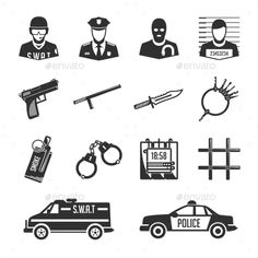 Buy Police and Thieves Icons by art-sonik on GraphicRiver. Set of vector icons of police and criminals. Vector security image and offenders for use in your design projects. Swat Police, Astronaut Helmet, Security Logo, Man Office, Make Money Today, Abstract Line Art, Blackwork, Detective, Design Projects