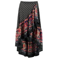 Boohoo Zinnia Ruffle Hem Border Print Maxi Skirt ($40) ❤ liked on Polyvore featuring skirts, pleated midi skirts, midi circle skirt, maxi skirts, mini maxi skirt and midi skirt