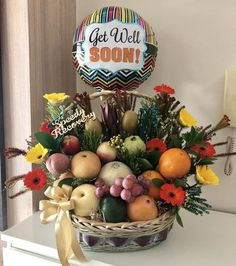 Well Wishes Basket Fruit Gifts, Food Gifts, Get Well Soon Flowers, Fruit Hampers, Food Bouquet, Danish Butter Cookies, Wish Gifts, Supermarket Design, Flower Delivery Service