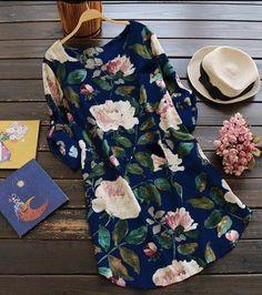 2019 New Women Loose Floral Print Dress Ladies Mini Dress Summer Casual Party Dresses Long Sleeve Dress Plus Size Shift Dresses, Mini Dresses, Floral Dresses, Ivory Dresses, Vintage Dresses, Maxi Dress With Sleeves, The Dress, Dress Long, Dress Skirt