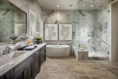 Modern tranquility found in a gorgeous marble master bath in Yorba Linda, CA. Dream Bathrooms, Amazing Bathrooms, Design Your Own Home, Yorba Linda, Living Room Accessories, Luxury Homes Dream Houses, Luxury Dining Room, Tuscan Design, New Home Communities