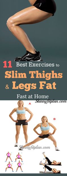 11 Best Exercises to Slim Thighs and Legs Fast at Home: Do you want to lose thigh and Legs fat? Discover here easy best thighs and legs workouts to lose inner thigh, tone legs and butt fast at home. These workouts are effective to give you sexy and slim t Thinner Thighs Workout, Slim Legs Workout, Leg Workout At Home, Fat Workout, Toning Legs, Leg Workout Women, Tone Thighs, Slim Thighs, Lose Thigh Fat