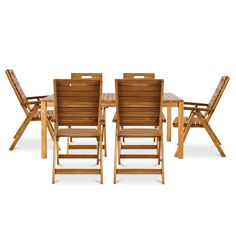Denia Wooden 6 Seater Recliner Dining Set