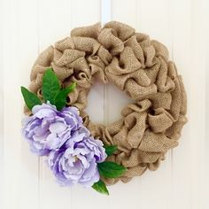 Purple Peony Wreath, Summer Wreath, Burlap Wreath, Spring Wreath, Front Door Wreath, Flower Wreath by JennysWreathBoutique on Etsy https://www.etsy.com/listing/386152184/purple-peony-wreath-summer-wreath-burlap