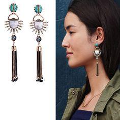 2016 Baru Rumbai Anting kpop Turquoise Hanging Anting Musim Panas Trendy Perhiasan Etnik Anting Panjang