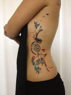 dreamcatcher watercolor tattoo by sara rosenberg, berlin