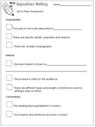 Expository Writing Assessment Worksheet