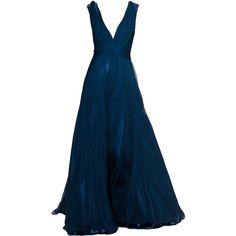 JennyPackham-editedbyelfemme ❤ liked on Polyvore featuring dresses, gowns, long dresses, vestidos, blue, long blue dress, blue ball gown, blue evening dresses and long blue evening dress