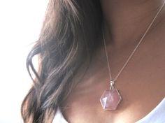 Rose Quartz Necklace - Pink Quartz Hexagon  Pyramid - Pointed Prism Crystal Pendant - Silver Chain Jewelry - Boho Gemstone Layering Necklace