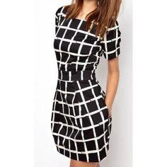 Scoop Neck Short Sleeve Striped Slimming Simple Design Women's Dress (BLACK,M) in Bodycon Dresses | DressLily.com
