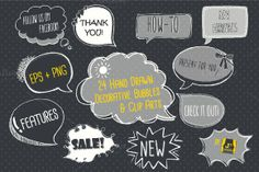 Check out Chalkboard Bubble Clip Art EPS + PNG by JSquarePresents on Creative Market
