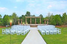 Outdoor wedding ceremony columns, Bluestem Vineyard Nebraska