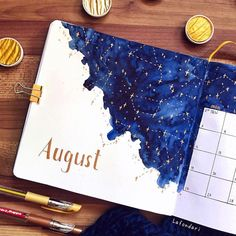 This is so stunning ✨ such a beautiful August cover page by 🌌 Bullet Journal Lettering, Bullet Journal Headers, Bullet Journal Cover Page, Bullet Journal Writing, Bullet Journal Aesthetic, Bullet Journal Ideas Pages, Bullet Journal Inspo, Bullet Journals, Junk Journal