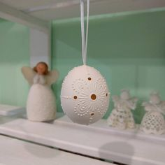 White Madeira Lace Easter Egg Unique Easter by EggArtBoutique