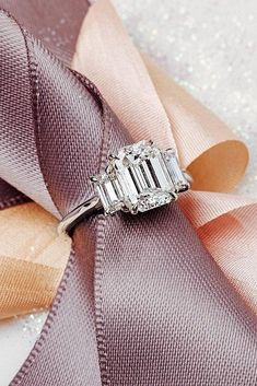 Gold Baguette Diamond Bypass Ring / Crisscross Diamond Ring / Double Baguette Bypass Ring / Two Stone Diamond Ring / Graduation Gift - Fine Jewelry Ideas Deco Engagement Ring, Perfect Engagement Ring, Engagement Ring Settings, White Gold Wedding Bands, Diamond Wedding Bands, Wedding Rings, Emerald Cut Diamonds, Diamond Cuts, Future Mrs