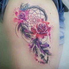Lindo Atrapasueños y Flores Rosas