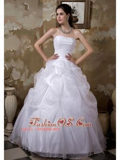 Custom Made Ball Gown Strapless Wedding Dress Taffeta and Organza Pick-ups Floor-length  http://www.fashionos.com  http://www.facebook.com/fashionos.us  Puffy and joyful! This sweetheart wedding dress is highly featured with the pick-ups on the skirt which puff the dress out like a big bell. The ruched beads adorned with glittering beads which makes the dress look prettier than it should be