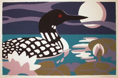 Loon, Moon and waterlily are the imagery in a handprinted serigraph titled Moon Light. $75.00, via Etsy.