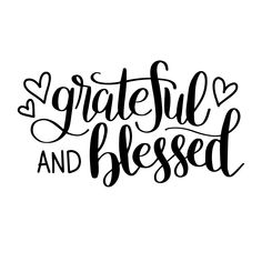 Hand Lettered Grateful and Blessed Free SVG Cut File for use with Silhouette and Cricut Machines Cricut Svg Files Free, Free Svg Cut Files, Free Font Design, Blessed, Cricut Vinyl, Cricut Air, Vinyl Decals, Silhouette Design, Svg Cuts