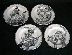 halloween china dinner plates | 222 Fifth China Halloween Wiccan Lace Set of 4 Appetizer Plates New ...