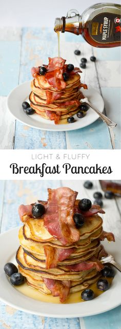 These pancakes are beautifully light and fluffy, and incredibly simple to make. All you need to do is whisk it all together, fry and flip - easy! They're perfect for a special occasion or just for a weekday breakfast or brunch. Breakfast Pancakes, Fries, Special Occasion, Brunch, Yummy Food, Eat, Simple, Board, Recipes