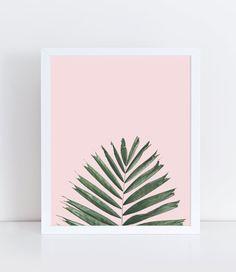 Palm Leaf Printable, Plant Wall Decor, Palm Tree Print, Minimalist and Modern Home Decor, Nature Photography, Nature Print, Pastel Pink.
