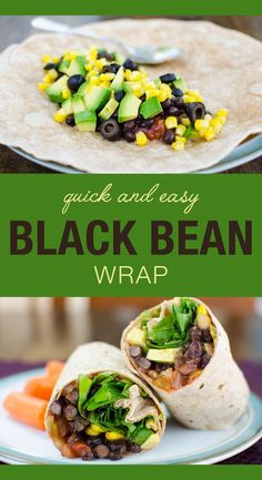 and Easy Black Bean Wrap - vegan and gluten free - sure to become one of your favorite lunch sandwich recipes! and Easy Black Bean Wrap - vegan and gluten free - sure to become one of your favorite lunch sandwich recipes! Vegan Lunches, Healthy Snacks, Healthy Eating, Vegan Snacks On The Go, Healthy Lunch Wraps, Vegan Recipes Easy Healthy, Healthy Nutrition, Vegan Black Bean Recipes, Dinner Healthy