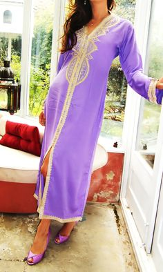 Lilac  Moroccan Caftan Dress Long  Lella  Style by MaisonMarrakech, $69.99