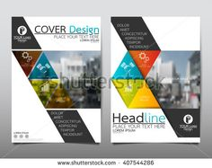 Shutterstock Blue and green square annual report brochure flyer design template vector, Leaflet cover presentation abstract flat background, layout in A4 size