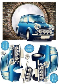 CUP863784_16808 - The iconic Mini appearing through a hole in the wall. Decoupage the car.