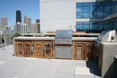 Chicago-Tropical Hardwood Bar, Concrete Countertop, Stainless Steel Grills