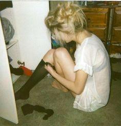 Messy hair and knee socks