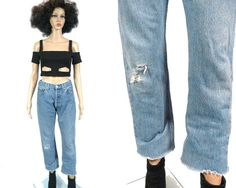Vtg LEVI'S 501 Button Fly Jeans / Cut Off by MirrorballBoutique