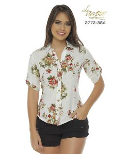 Blusa Moda Colombiana Solo Amor - Ref. 246 -2773-8 SA Verde Blouse Dress, Floral Blouse, Floral Tops, Moda Outfits, Asymmetrical Tops, Blouse Patterns, Trendy Tops, Ankara Styles, Formal Wear