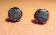 New ***.  Pietersite stone stud earrings.  10 mm diameter. Rhodium plated by Grindingstone on Etsy