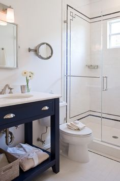 Ruth Richards Interiors - bathrooms - navy and white bathroom, blue and white bathroom, subway tile, subway tiled shower, subway tile with n...