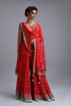 Red Embroidered Silk Kurta with Garara Sharara, Salwar Kameez, Anarkali, Indian Dresses, Indian Outfits, Shadi Dresses, Indian Attire, Indian Wear, Indian Designer Outfits