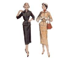 Stunning Belted Suit with Slim Skirt, Bracelet Length Sleeves, Welt Pockets & Deep Cuffs 1950 Complete Original Butterick Pattern #6727