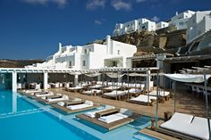 Pool area at Cavo Tagoo Hotel, Mykonos