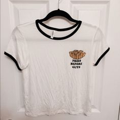 """Fries before guys"" shirt Not brandy. NWOT. Soft material. Brandy Melville Tops Tees - Short Sleeve"